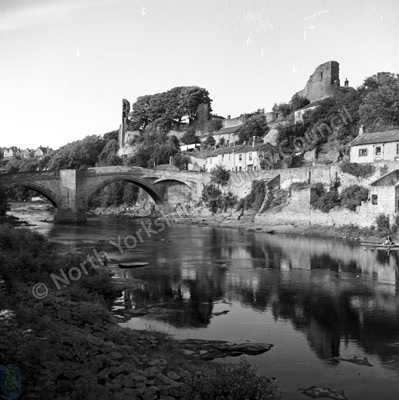 River Tees, Bridge and Castle, Barnard Castle. June 1961.